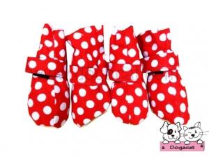 รองเท้าสุนัข รองเท้าหมา รองเท้าแมว สีแดงลายจุดขาว Size M