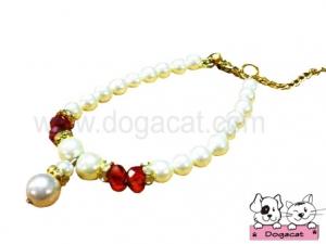 สร้อยคอมุกสุนัข สร้อยคอมุกหมา สร้อยคอมุกแมว สลับเพชรV2 สีขาวแดง