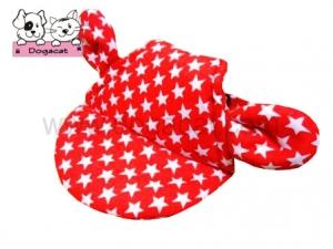หมวกสุนัขมีหู หมวกหมามีหู หมวกน้องหมามีหู หมวกแมวมีหู ลายดาว สีแดง