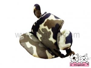 หมวกสุนัขมีหู หมวกหมามีหู หมวกแมวมีหู ลายทหาร สีน้ำตาล