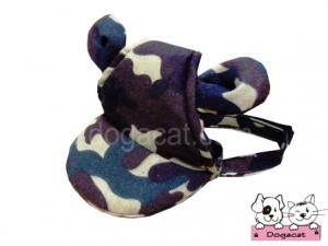หมวกสุนัขมีหู หมวกหมามีหู หมวกน้องหมามีหู หมวกแมวมีหู ลายทหาร สีเขียว