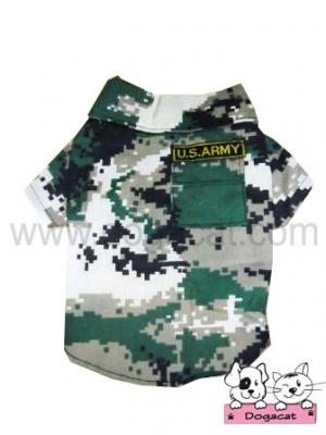 เสื้อสุนัข เสื้อหมา เสื้อน้องหมา เสื้อผ้าหมา เสื้อแมว เสื้อผ้าสุนัข เชิ๊ตทหาร สีเขียว