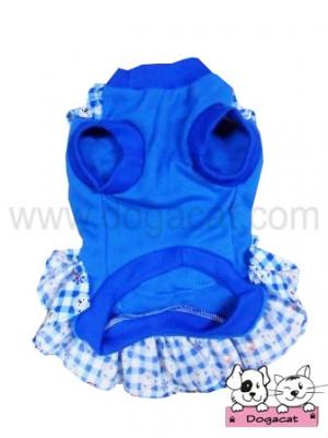 เสื้อสุนัข เสื้อหมา เสื้อผ้าหมา เสื้อแมว เสื้อน้องหมา เสื้อผ้าสุนัข เดรสเอี๊ยมยืด ลายตุ๊กตา สีฟ้า