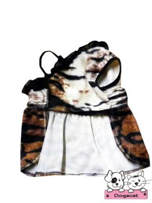 เสื้อสุนัข เสื้อหมา เสื้อผ้าหมา เสื้อแมว เสื้อน้องหมา เสื้อผ้าสุนัข ชุดเดรสลายเสือเปิดไหล่ ลายพาดกลอน