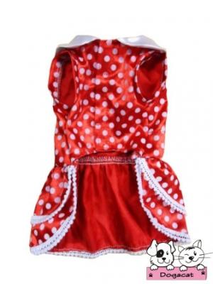 เสื้อสุนัข เสื้อหมา เสื้อผ้าหมา เสื้อน้องหมา เสื้อแมว เสื้อผ้าสุนัข ชุดเดรส คอบัว ลายจุด สีแดง