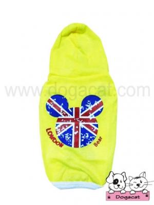 เสื้อสุนัข เสื้อหมา เสื้อน้องหมา เสื้อผ้าหมา เสื้อแมว เสื้อผ้าสุนัข เสื้อยืด ลาย london สีเหลือง