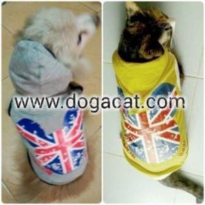 รีวิวเสื้อสุนัข เสื้อหมา เสื้อน้องหมา เสื้อผ้าหมา เสื้อแมว เสื้อผ้าสุนัข เสื้อยืด ลาย london สีเหลืองกับสีเทา