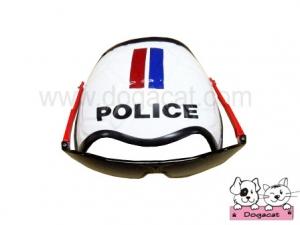 แว่นสุนัข แว่นหมา แว่นแมว หมวกกันน็อคสุนัข สีขาว