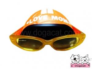 แว่นสุนัข แว่นหมา แว่นน้องหมา แว่นแมว หมวกกันน็อคสุนัข สีส้ม