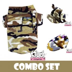 combo set เสื้อสุนัข เสื้อหมา เสื้อน้องหมา เสื้อผ้าสุนัข เสื้อผ้าหมา เสื้อแมว เชิ๊ตทหารสีน้ำตาล หมวกสุนัขมีหู