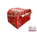 กระเป๋าหมา กระเป๋าแมว ลายดอก สีแดง
