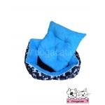 ที่นอนสุนัข เบาะสุนัข ลายรูปสุนัขสีน้ำเงิน