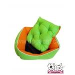ที่นอนหมา เบาะสุนัข สีส้มเขียว