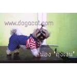 น้องถุงเงินใส่เสื้อสุนัข เสื้อหมา เสื้อน้องหมา เสื้อผ้าหมา เสื้อแมว เสื้อผ้าสุนัข ชุดเอี๊ยมยืด Polka Dot ลายสหรัฐ