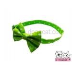 ปลอกคอสุนัขหูกระต่าย สีเขียวอ่อนจุดขาว