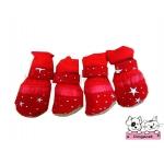 รองเท้าสุนัข ลายดาวประกาย สีแดง