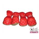 รองเท้าสุนัข สีแดงลายจุดขาวV2