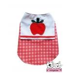 เสื้อสุนัข เสื้อแมว เชิ๊ตลายแอปเปิ้ล โทนแดง