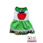 เสื้อสุนัข เสื้อแมว เดรสลายแอปเปิ้ล โทนเขียว