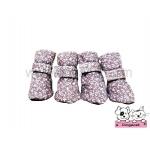 รองเท้าสุนัข สีชมพูวินเทจ ลายดอกไม้