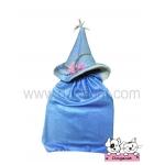 หมวกสุนัข แม่มด สีฟ้าอ่อน พร้อมผ้าคลุม