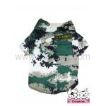 เสื้อสุนัข เสื้อแมว เชิ๊ตทหาร สีเขียว