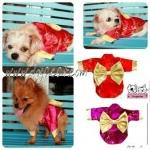 คากิและบราวนี่ในเสื้อสุนัข ชุดกิโมโนญี่ปุ่น สีแดง