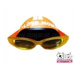 แว่นสุนัข หมวกกันน็อคสุนัข สีส้ม