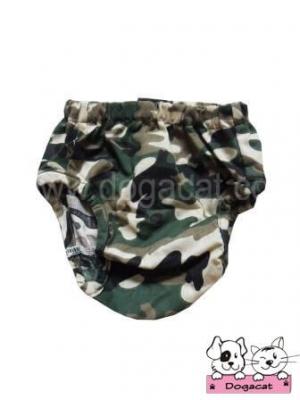 กางเกงอนามัยสุนัข กางเกงอนามัยหมา กางเกงอนามัยแมว ลายทหาร สีเขียว