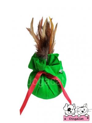 ของเล่นหมา ของเล่นสุนัข ของเล่นน้องหมา ของเล่นแมว ถุงแคทนิปขนไก่ สีเขียว
