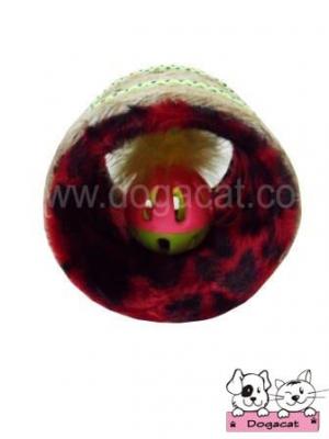ของเล่นหมา ของเล่นสุนัข ของเล่นน้องหมา ของเล่นแมว ท่อหมุน ลายเสือจุด สีแดง
