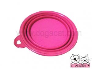ของใช้สุนัข ของใช้หมา ของใช้แมว ชามสุนัข ชามหมา ชามแมว แบบพับได้ สีชมพู