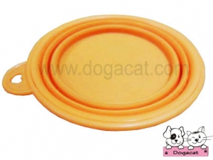 ของใช้สุนัข ของใช้หมา ของใช้แมว ชามสุนัข ชามหมา ชามแมว แบบพับได้ สีส้ม