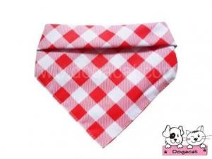 ผ้าพันคอสุนัข ผ้าพันคอแมว ผ้าพันคอหมา ผ้าพันคอน้องหมา สก๊อตใหญ่สีแดง