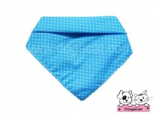 ผ้าพันคอสุนัข ผ้าพันคอแมว ผ้าพันคอหมา ผ้าพันคอน้องหมา สีฟ้าจุดขาว