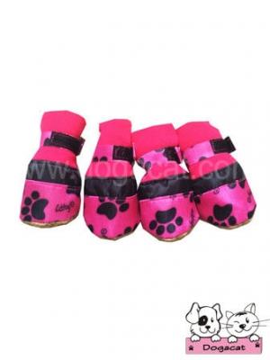 รองเท้าสุนัข รองเท้าหมา รองเท้าแมว ลายรอยเท้าสุนัข สีชมพู