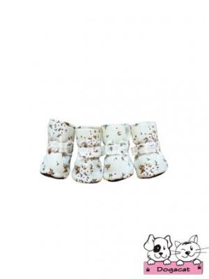 รองเท้าสุนัข รองเท้าหมา รองเท้าแมว สีขาวซากุระ