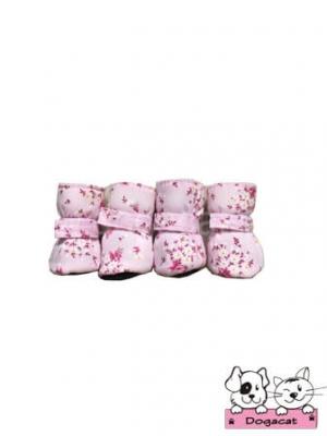 รองเท้าสุนัข รองเท้าหมา รองเท้าแมว สีชมพูซากุระ