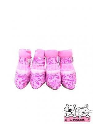 รองเท้าสุนัข รองเท้าหมา รองเท้าแมว สีชมพูลายดอกผีเสื้อ