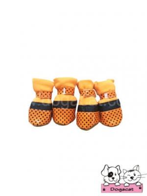 รองเท้าสุนัข รองเท้าหมา รองเท้าแมว สีส้ม ลายจุดดำเล็ก