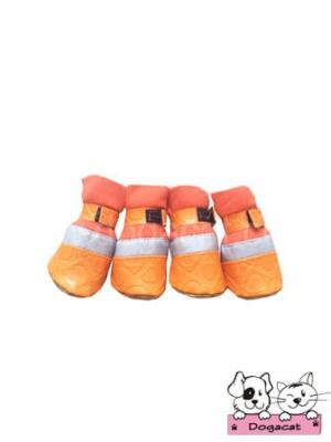 รองเท้าสุนัข รองเท้าหมา รองเท้าแมว สีส้ม ลายหัวใจสีส้ม