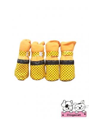 รองเท้าสุนัข รองเท้าหมา รองเท้าแมว สีเหลือง ลายจุดดำเล็ก