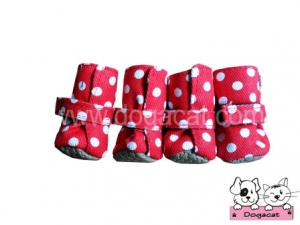 รองเท้าสุนัข รองเท้าหมา รองเท้าแมว สีแดงลายจุดขาว Size S