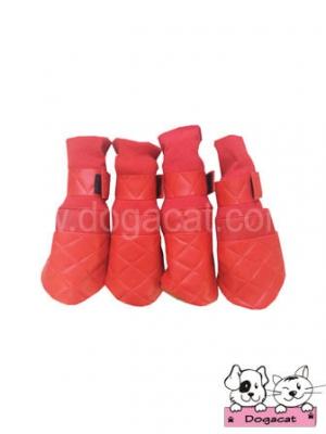 รองเท้าสุนัข รองเท้าหมา รองเท้าแมว สีแดง ลายตารางบุ