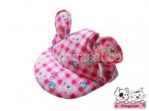 หมวกสุนัขมีหู หมวกหมามีหู หมวกแมวมีหู ลายตุ๊กตา สีชมพู
