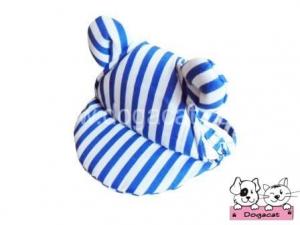 หมวกสุนัขมีหู หมวกหมามีหู หมวกแมวมีหู ลายทาง สีน้ำเงิน