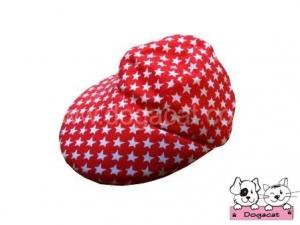 หมวกแกปสุนัข หมวกแกปหมา หมวกแกปแมว ลายดาว สีแดง