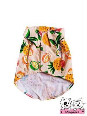 เสื้อสุนัข เสื้อหมา เสื้อน้องหมา เสื้อผ้าหมา เสื้อแมว เสื้อผ้าสุนัข ลายดอกฮาวาย ลายผลไม้สีส้ม