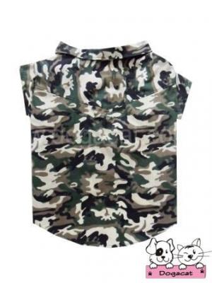 เสื้อสุนัข เสื้อหมา เสื้อน้องหมา เสื้อผ้าหมา เสื้อแมว เสื้อผ้าสุนัข เชิ๊ตทหาร สีเขียว ไซส์ใหญ่