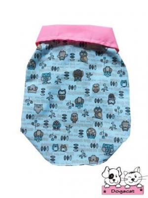 เสื้อสุนัข เสื้อหมา เสื้อน้องหมา เสื้อผ้าหมา เสื้อแมว เสื้อผ้าสุนัข เชิ๊ตนกฮูกสีฟ้า ปกชมพู